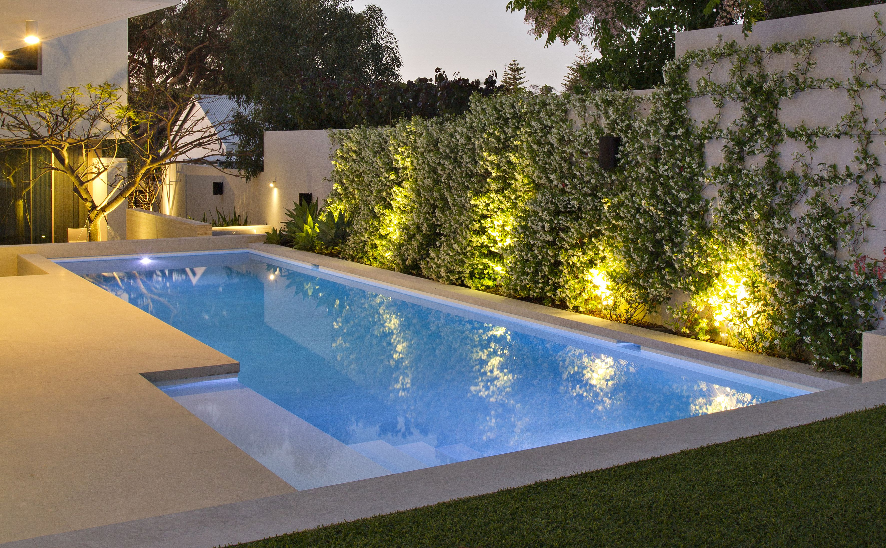 Pool, garden lighting, outdoor spaces Pool landscape