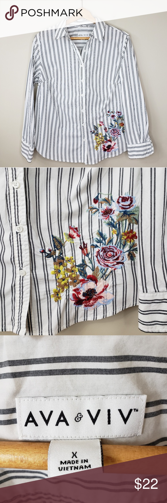 8d1986141696cb Ava & Viv | Floral Embroidered Button Down Shirt Ava & Viv | Floral  Embroidered Button