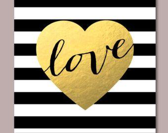 Black And Gold Wall Art 20x20 modern valentine printable, black & white stripes print