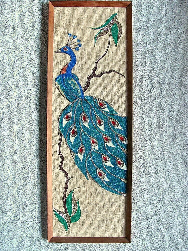 Vtg Blue Peacock Gravel Art Mosaic Pebble Rock Wall Decor Mosaic Art Mid Century Wall Art Pebble Art