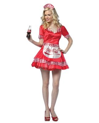 Coca Cola Soda Girl Adult Costume  sc 1 st  Pinterest : 1950s costume ideas  - Germanpascual.Com