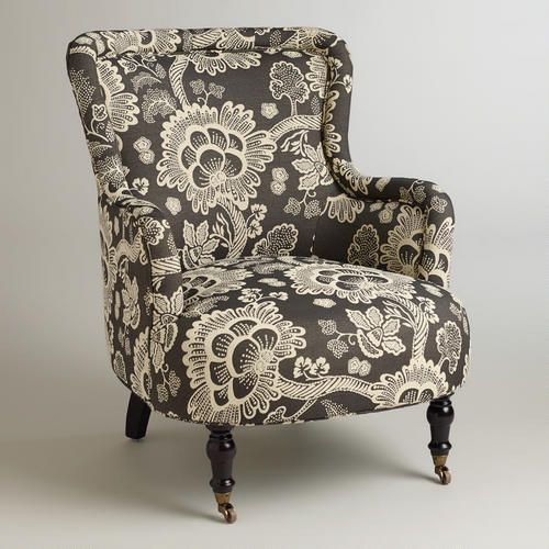 Black And White Floral Reading Chair Living Room Chairs Reading