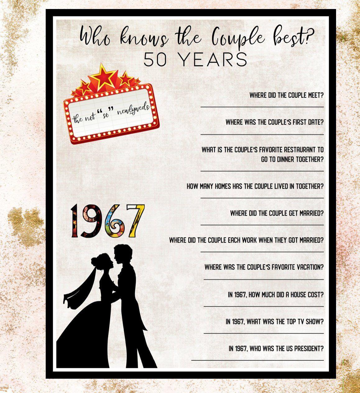 Wedding Anniversary Trivia Game Trivia questions 1967