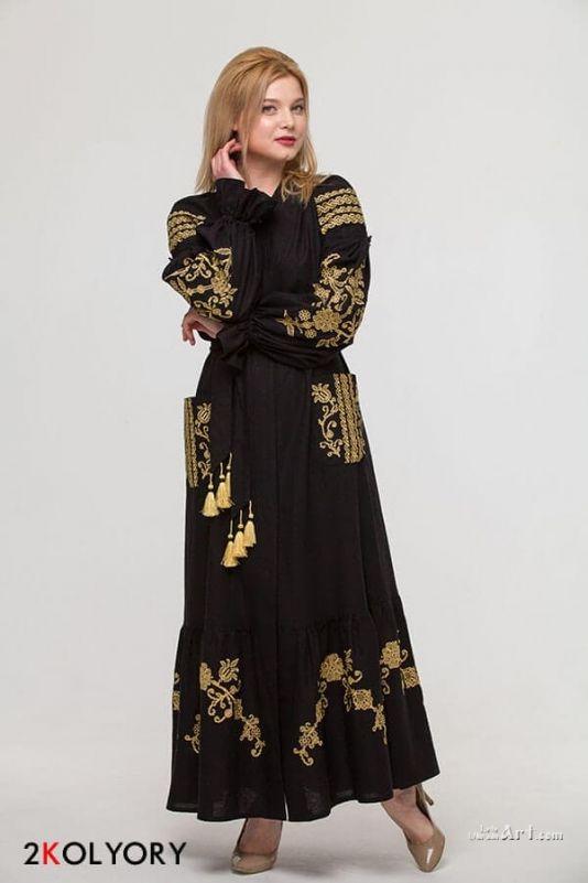 """Сукня вишиванка """"Східний сад"""" чорна - Два Кольори Купити виріб Сукня  вишиванка """"Східний сад"""" чорна 1b5f765bb862b"""