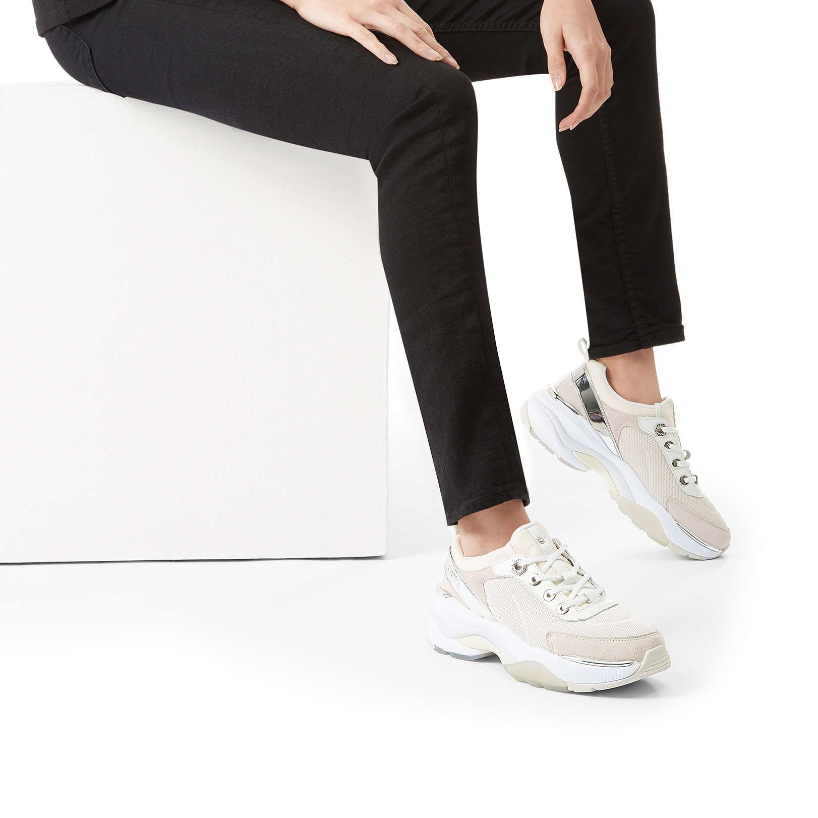 Laser Cream Chunky Low Top Trainers By