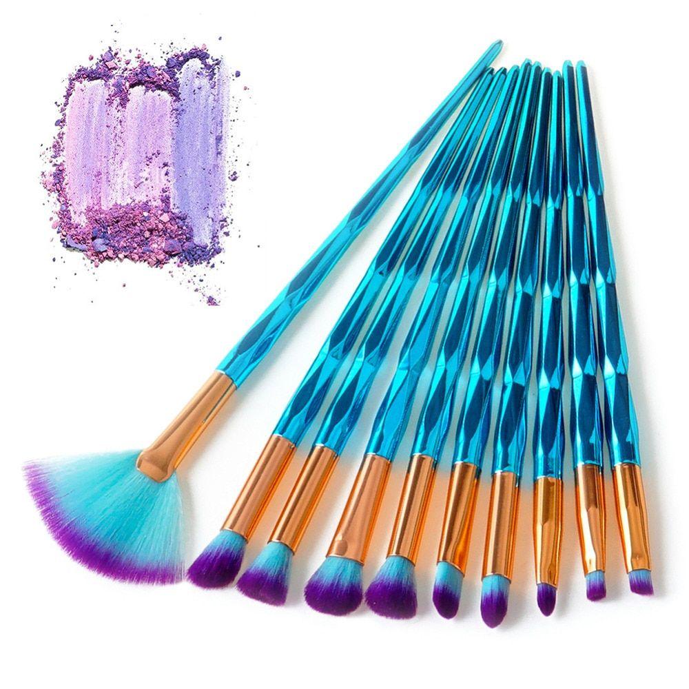 4/7/10Pcs Diamond Makeup Brushes Set Foundation Blending