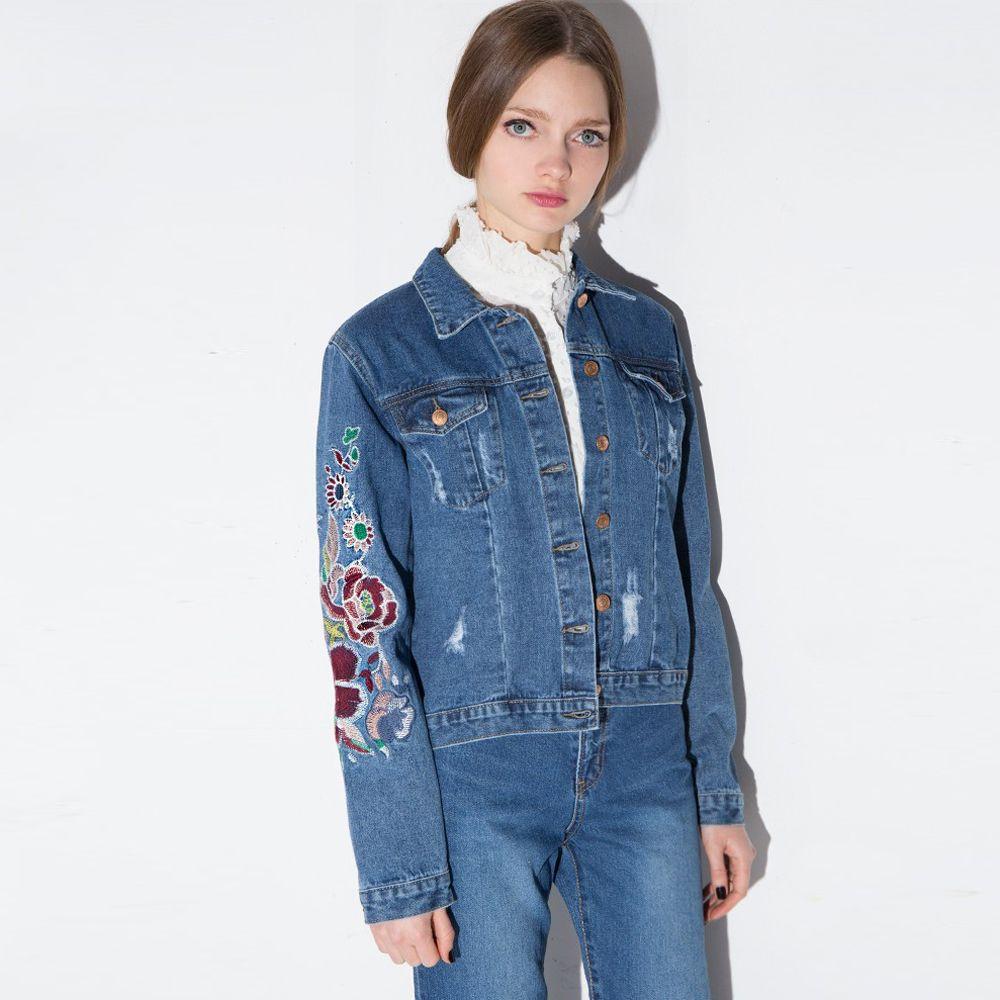 ... Alexander McQueen Layered embroidered denim jacket Blue Women Clothing  Jackets,alexander mcqueen sneakers,complete ...