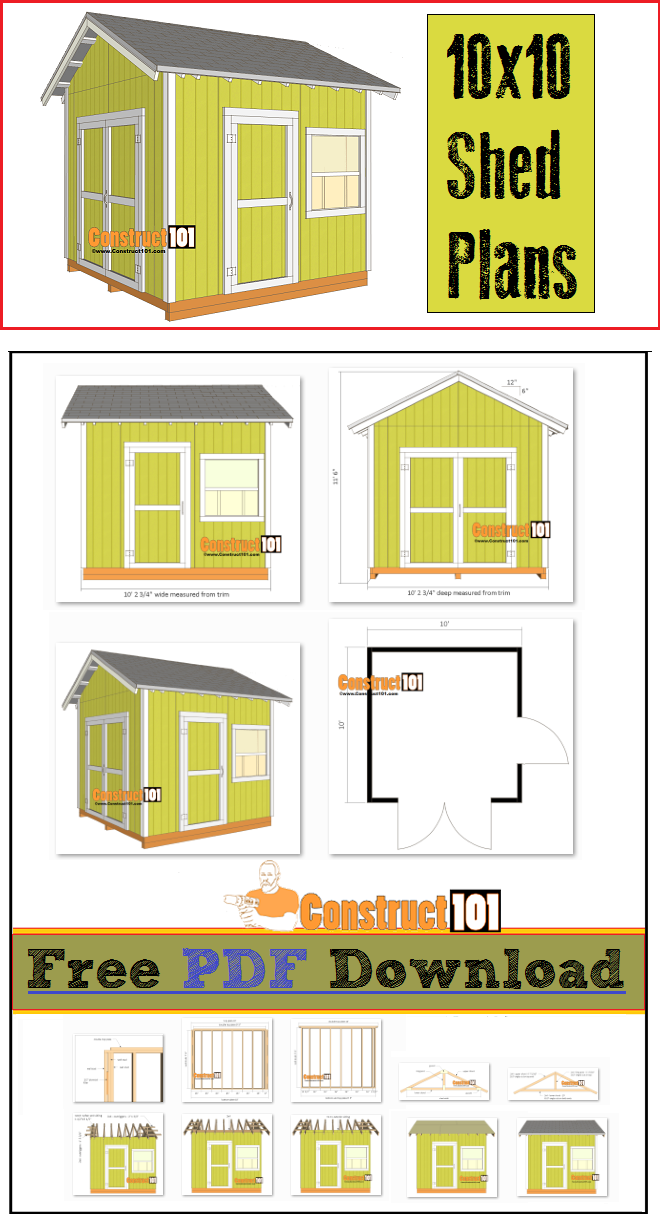 Shed Plans 10x10 Gable Shed Pdf Download Construct101 Diy Storage Shed Plans 10x10 Shed Plans Shed Plans
