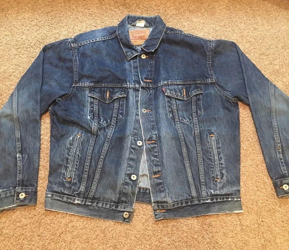 Levis Denim Jean Jacket Biker Trucker 70507 4809 Mens Large Vintage Red Tag Levis Denim Jeans Denim Jean Jacket Jean Jacket [ 866 x 1000 Pixel ]