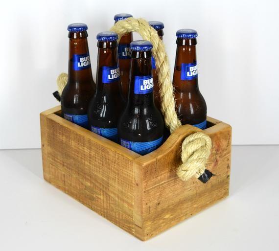 BBQ utensil rustic bottle holder Upcycled pallet beer tote 6 pack carrier