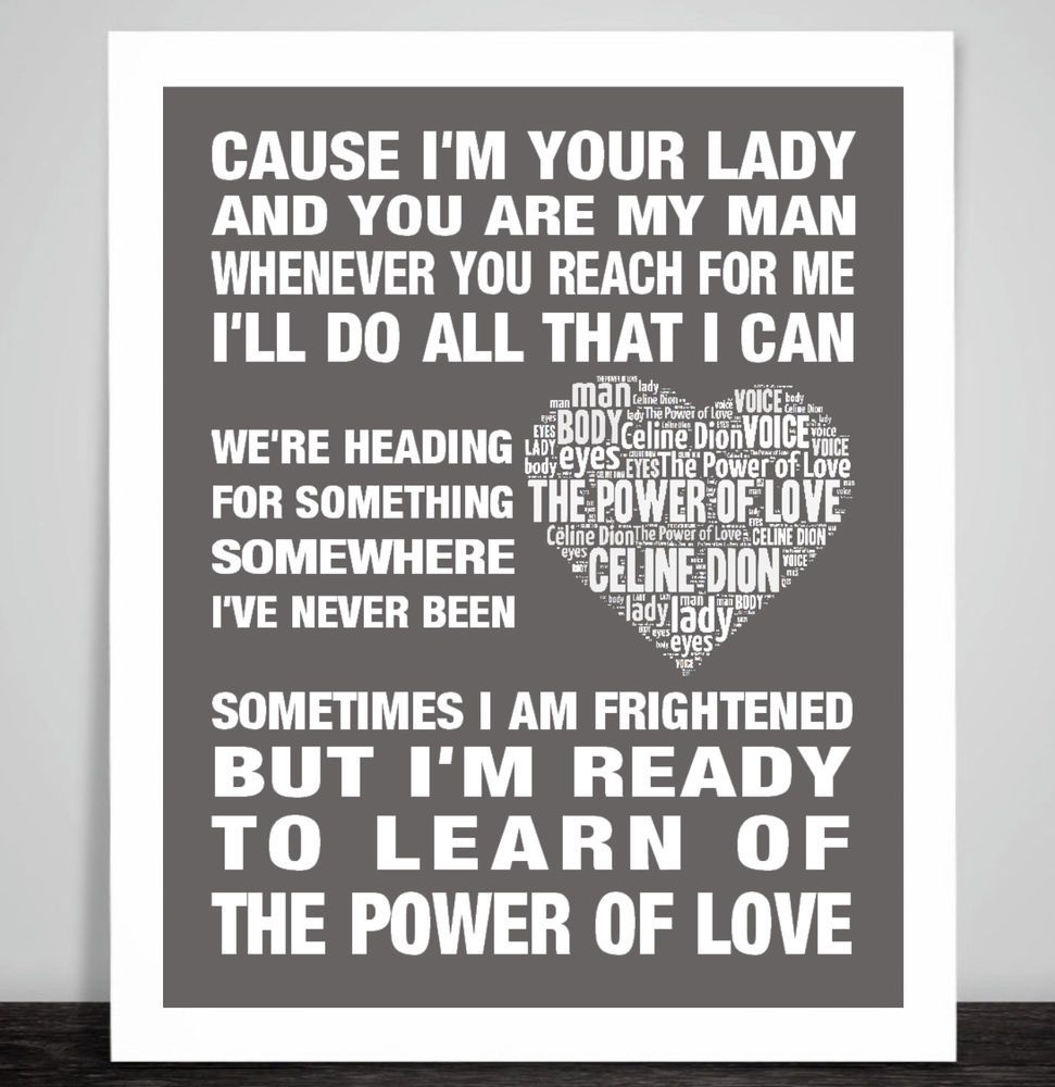 Celine Dion The Power Of Love Music Song Lyric Print Valentine Gift Song Lyric Print Love Songs Lyrics Celine Dion