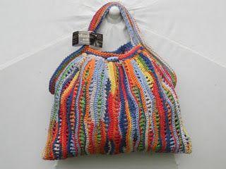 Wow, very creative crocheted bag!