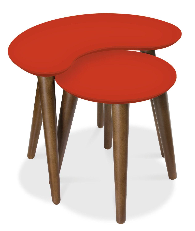 Oslo Walnut Nest of Tables - Orange (Oslo Walnut Nest of Tables - Orange) from Oak Furniture Solutions