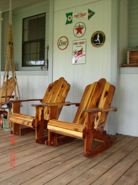 The Cedar Rocking Chairs On Our Front Porch. Love These, So Beautiful And  Comfortable.