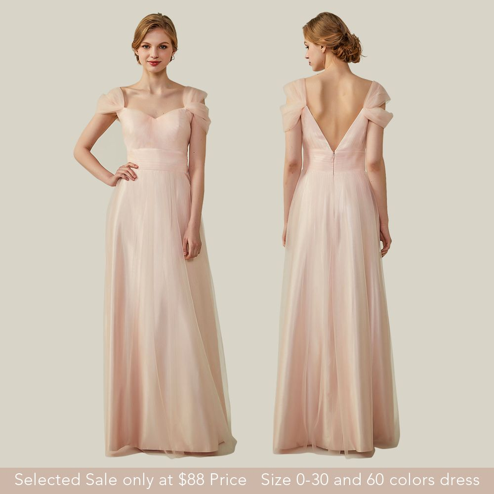 Elegant cold shoulder pink bridesmaid dresses with v back neck