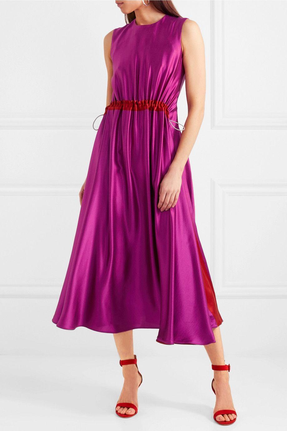 Keeva Silk Satin Midi Dress Roksanda Ilincic EP4YCAOs
