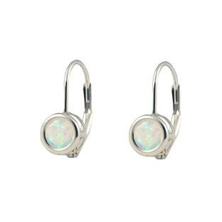 14k White Gold Opal Lever Back Earrings Gemologica Offers A Unique Simple Selection Of Handmade Fashion And Fine Jewelry For Men Woman Children To
