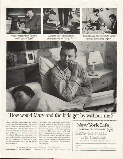 1961 New York Life Insurance Company Vintage Ad Mary New York