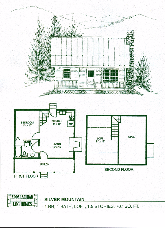 Silver mountain 1 bed 1 bath 1 5 stories 707 sq ft for Appalachian house plans
