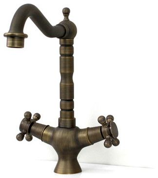 Two Handle Antique Brass Kitchen Faucet traditional kitchen faucets
