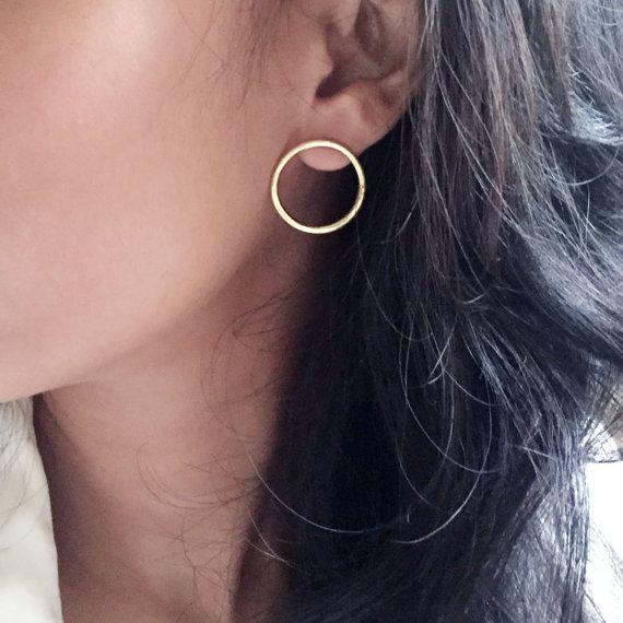 05242ec26 Karen Open Circle Earrings Studs - Medium Minimalist Circle Studs - Sterling  Silver Earrings, 14k G