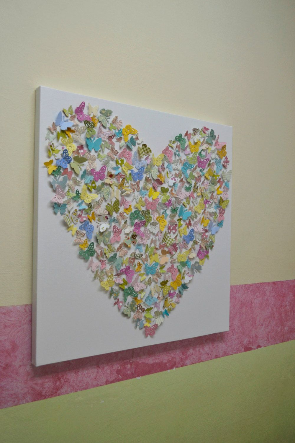 Large Cottage Chic Butterfly Heart/ 3D Butterfly Art by RonandNoy, $235.00
