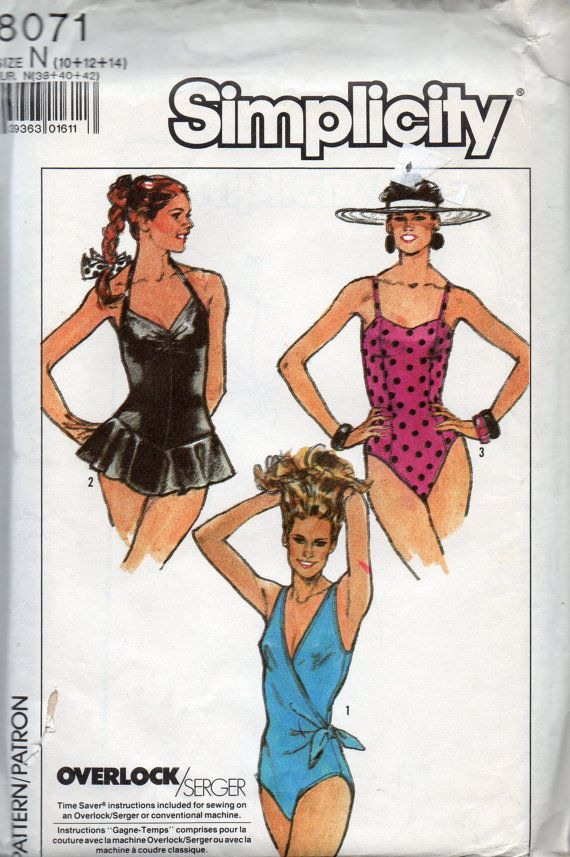 1980s Simplicity 8071 Misses 1 Piece Swimsuit Pattern 3 Styles Womens Vintage Sewing Pattern Size 10 12 14 Uncut Swimsuit Pattern Sewing Swimsuit Pattern Swimwear Pattern