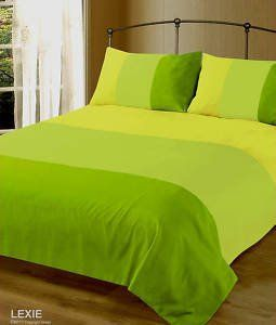 Double Bed Lexie Lime Green Summer Block Colour Duvet Cover Bedding Set Co