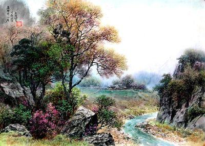 (North Korea) Autumn by Jeon Seok-bong (1947-  ).