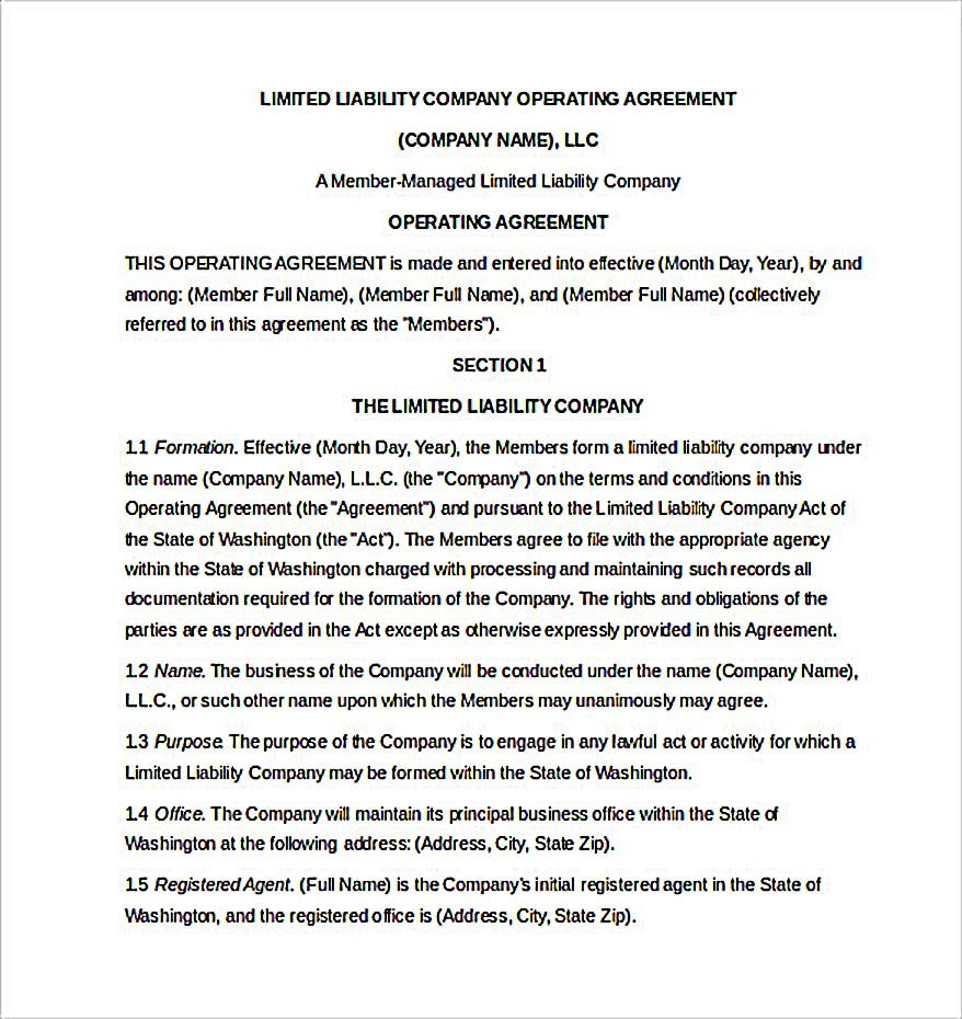 11 Operating Agreement Template for a Secure Company