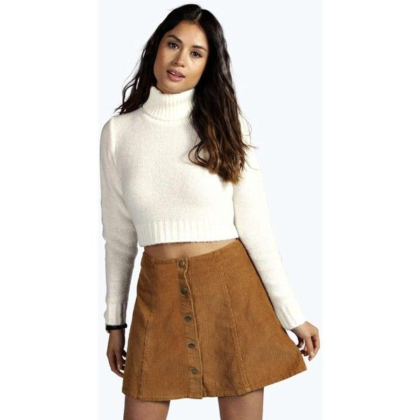 Boohoo Nicole Turtle Neck Crop Jumper ($26) ❤ liked on Polyvore ...