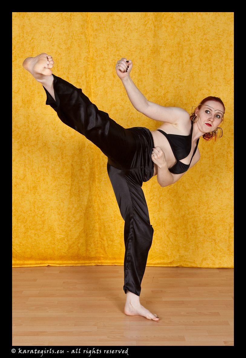Barefoot Dummy Kicks Martial Arts Taekwondo Women T