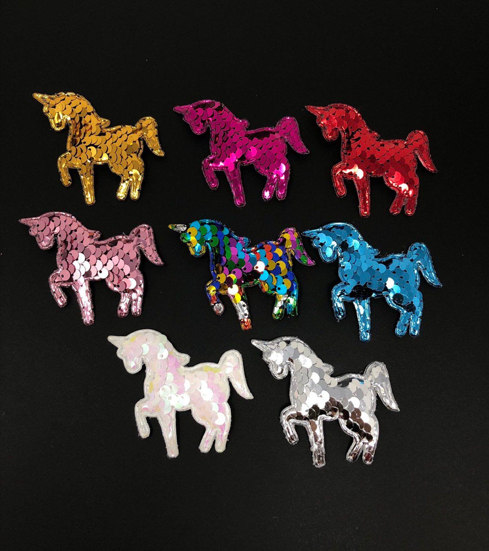 8 pcs unicorn sequins padded patch applique unicorn