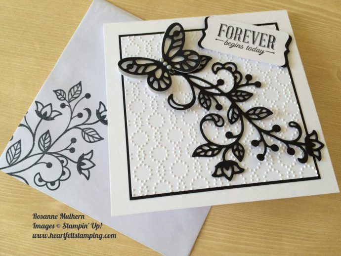 handmade card and matching envelope ... black and white ... Flourishing Phrases ... luv the textures ... due cuts and embossing folder ...  Stampin' Up!