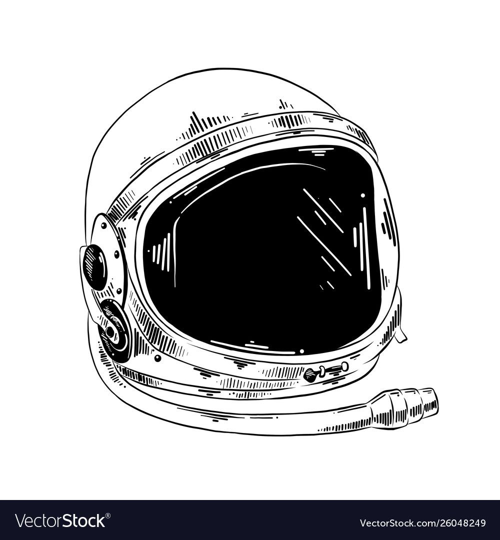Vector Engraved Style Illustration For Posters Decoration And Print Hand Drawn Sketch Of Astronaut Helmet I Astronaut Helmet Helmet Drawing Astronaut Drawing