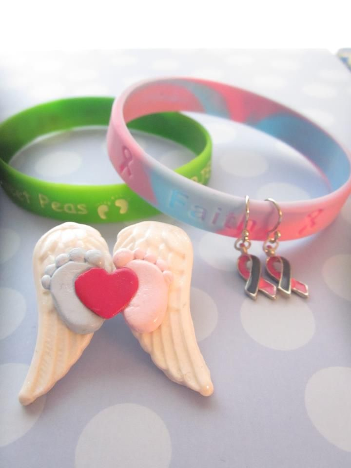 Awareness Keepsake Kit Pregnancy And Infant Loss Silicone Bracelet Psp Wing Pin