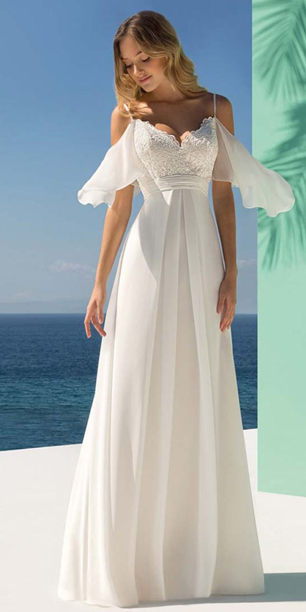 Charming Tulle   Chiffon Spaghetti Straps Neckline A-line Wedding Dress  With Lace Appliques eafd24477dac