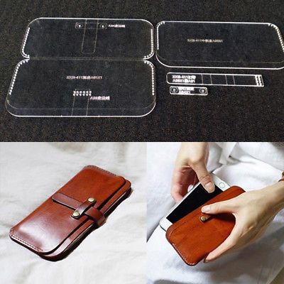 Leather Craft Acrylic Long Wallet Handbag Pattern Stencil Template Tool Set #craftstomakeandsell