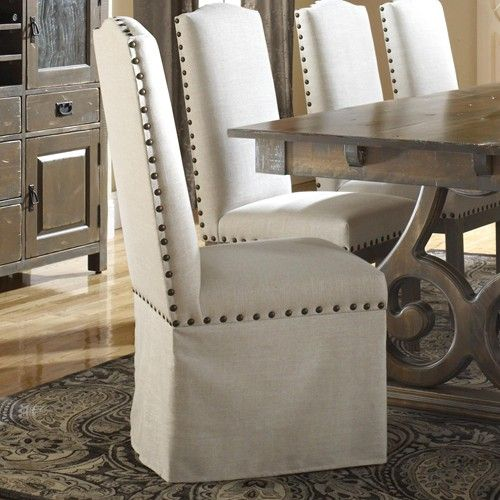 nailhead trim fabric skirted dining chairs | dining room > dining