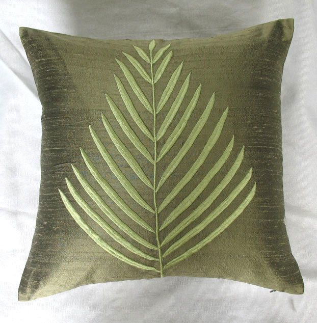 Incroyable Olive Green Fern Leaf Throw Pillow 16 Inch Cushion Cover In Silk. $26.75,  Via