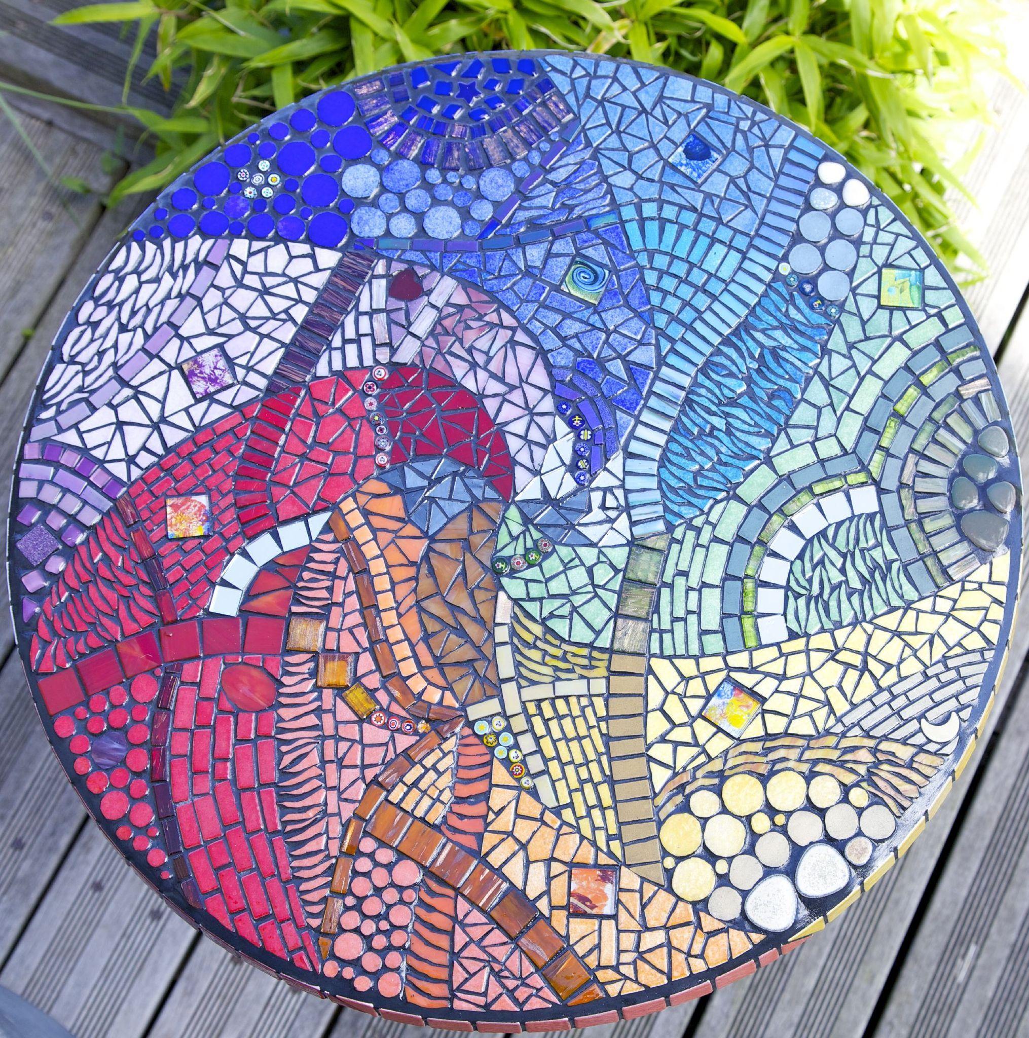 Arc En Ciel Revu Et Corrige Les Tresors D Anouk Creatrice De Mosaique Mosaique Art De La Mosaique Jardin Mosaique