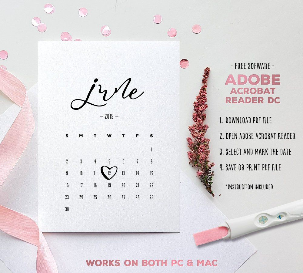 June 2019 Baby Due Date Calendar Template Editable Etsy