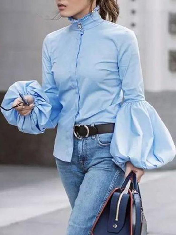 f7be5d0c1d0f6 Elegant Fashion Slim High Collar Long Sleeve Puff Cuff Button Blouse –  Elladr