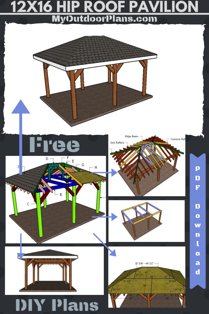 12x16 Hip Roof Pavilion Plans Outdoor Pavilion Hip Roof Pavilion Plans