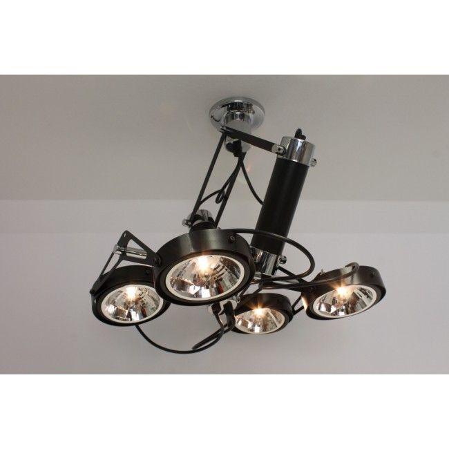Strakke industri le plafondlamp luxor 4 lichts zwart for Industriele spots