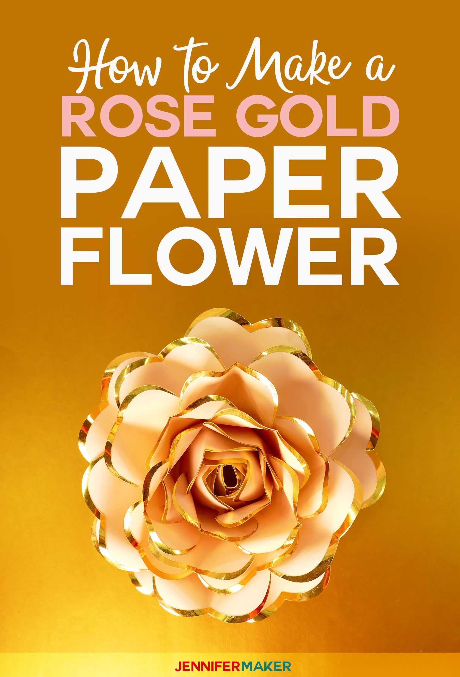 Rose Gold Paper Flower Foil Edged Heart Shaped Petals Paper