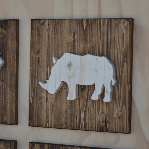 Rhino Wood Safari Animal Plaque Cutout 13 By SkipToothCreations