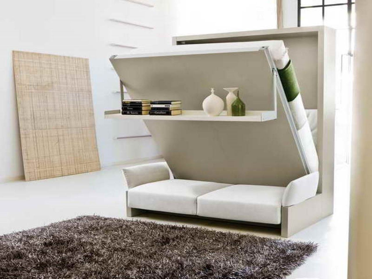 Beautiful Murphy Bed Desk Plus White Leather Loveseat