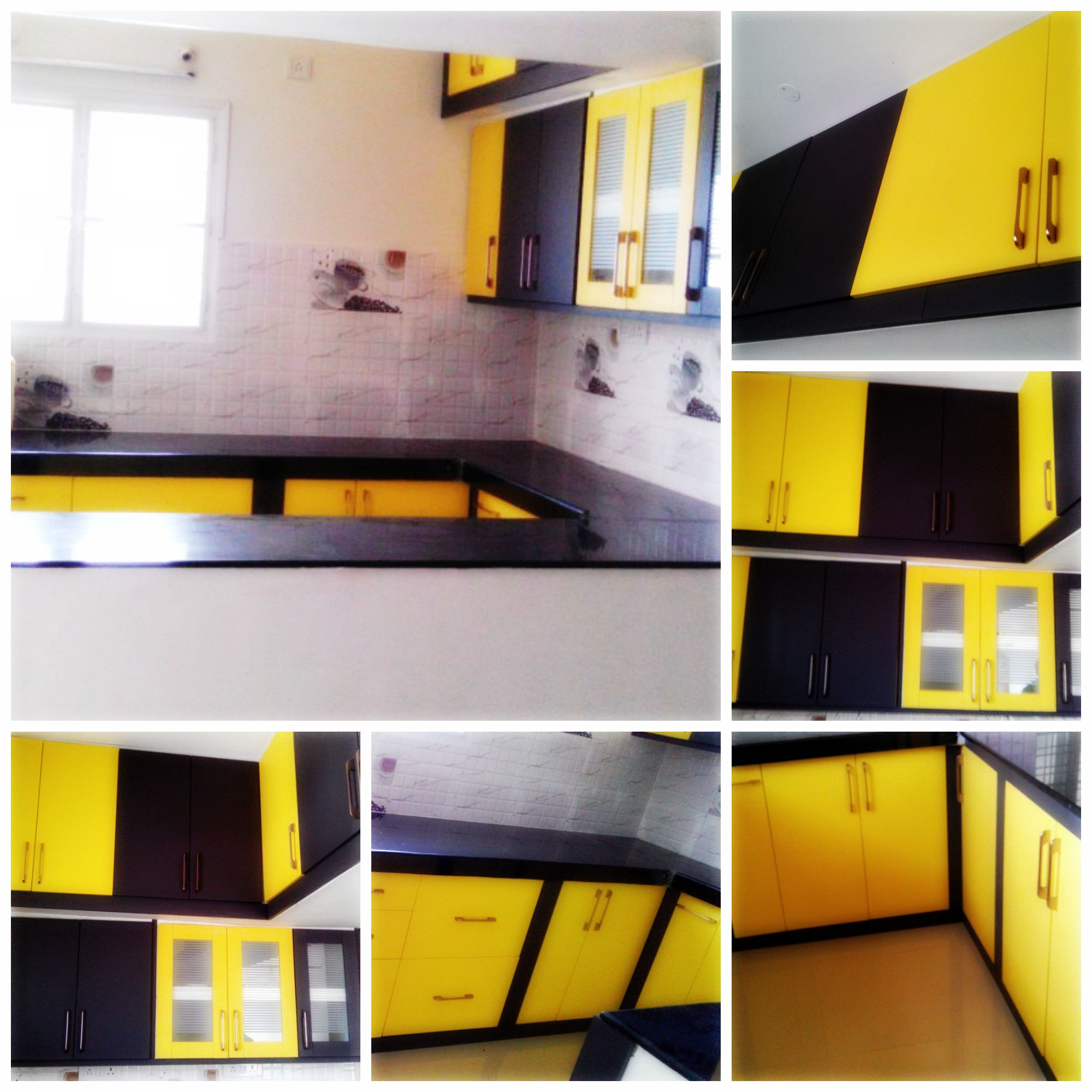 Customfurnish Yellow Black Modular Kitchen