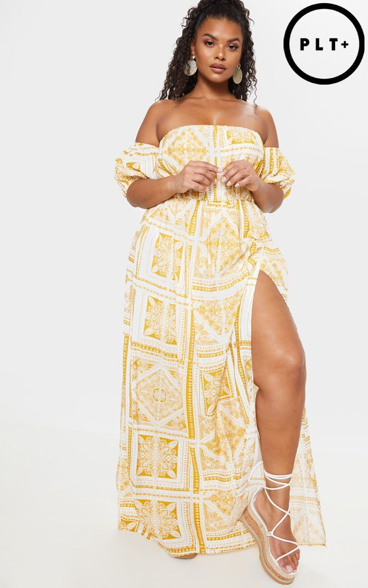 f9a9dd2aed Plus Yellow Paisley Tile Print Bardot Maxi Dress in 2019